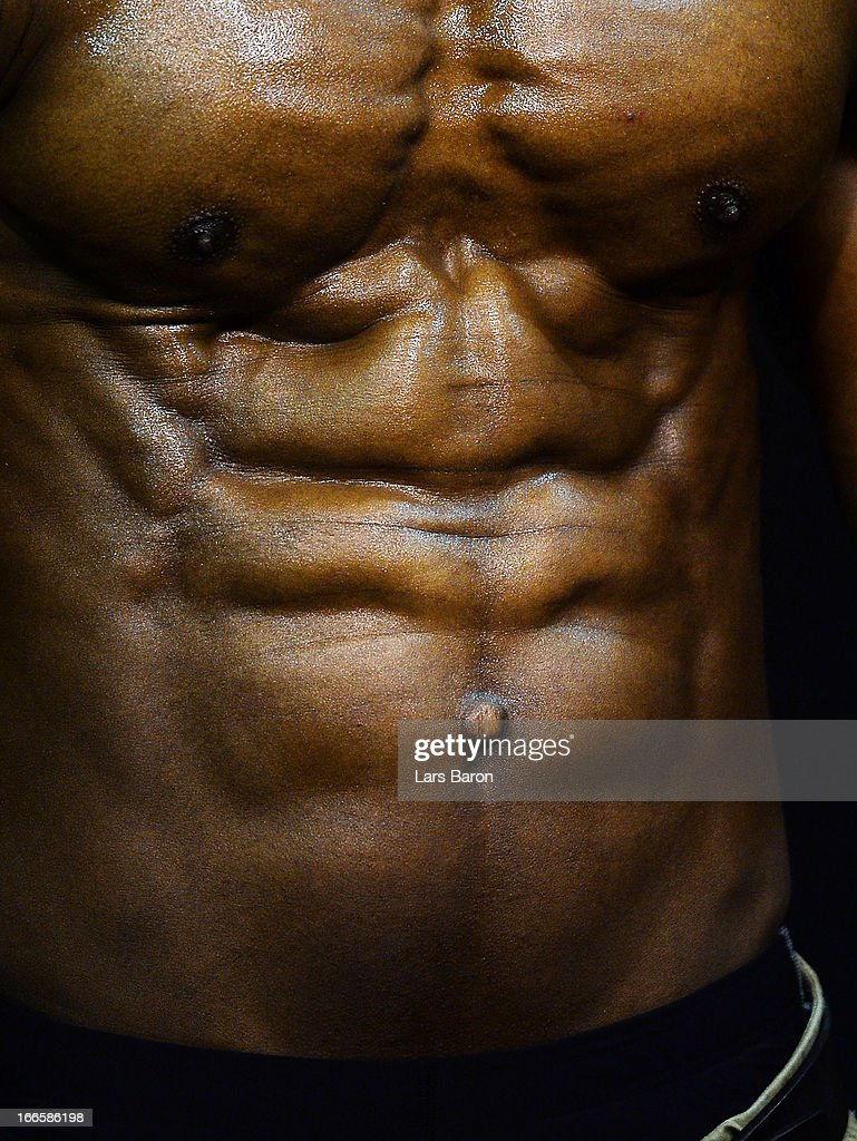 A man poses during the FIBO 2013 on April 14, 2013 in Cologne, Germany.