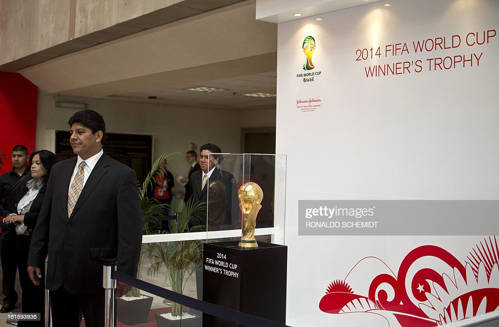 A man poses with the FIFA World Cup 2014 trophy, at the Mexican Congress in Mexico City, on February 12, 2013. The trophy was displayed for congressmen and visitors of the congress. AFP PHOTO/Ronaldo Schemidt