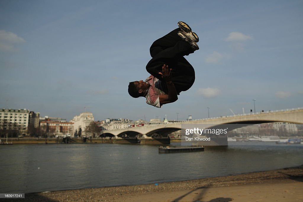 A man practices 'Free Running moves on the South Bank on February 18, 2013 in London, England.