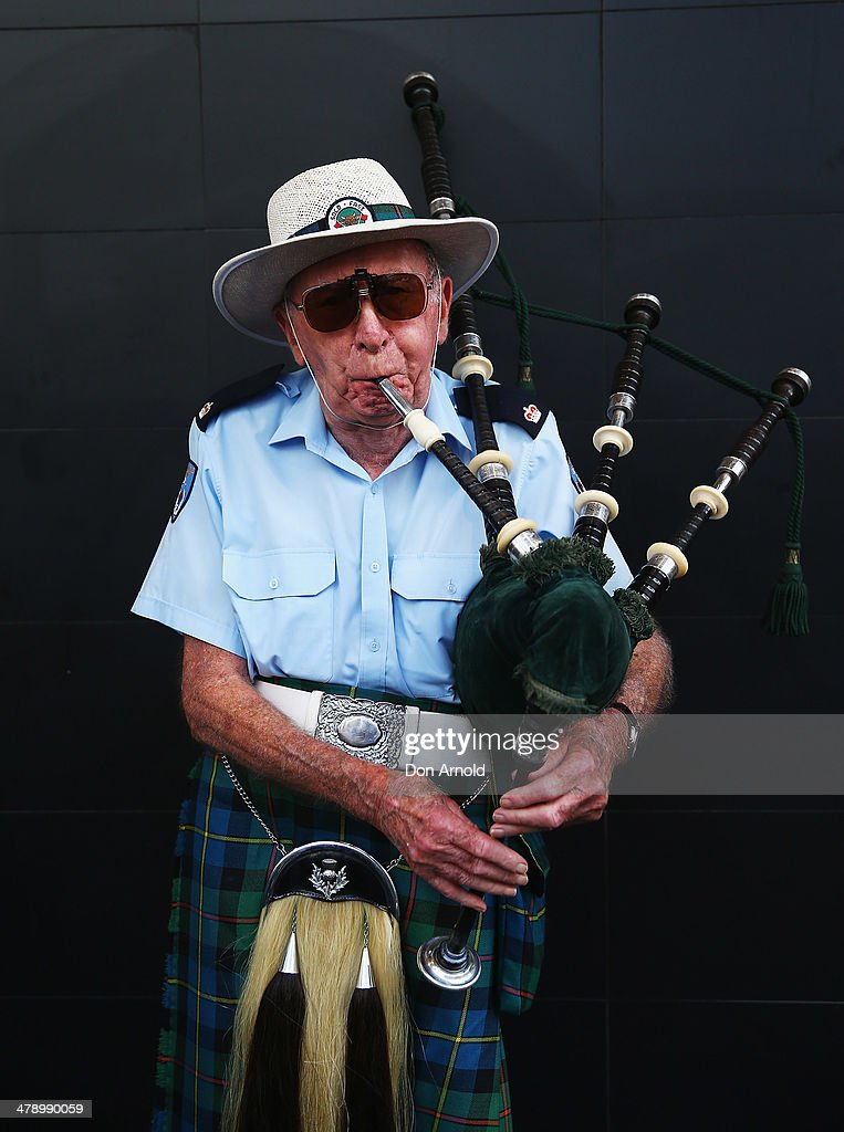 A man practices on hisbagpipes prior to marching in the parade on March 16, 2014 in Sydney, Australia. St Patrick's Day is an annual religious and cultural commemoration of the widely recognised patron saint of Ireland, Saint Patrick. March 17th, is a public holiday in Northern Ireland and the Republic of Ireland but is celebrated in many countries around the world where Irish diaspora have settled.