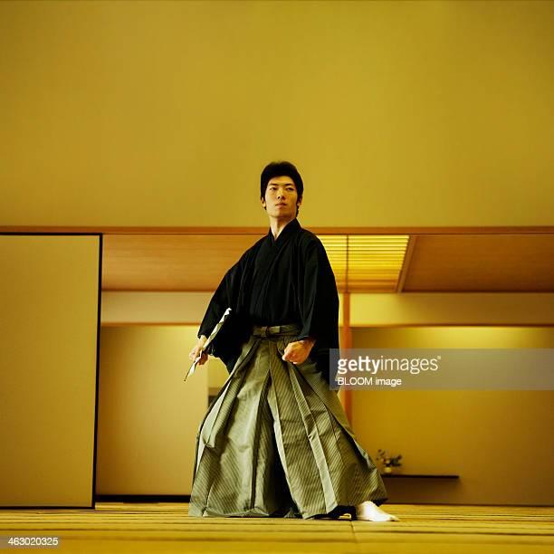 Man Practicing Japanese Dance