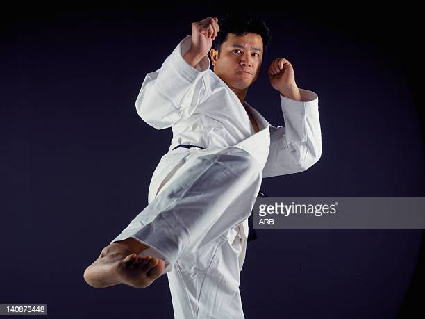 Man practicing martial arts