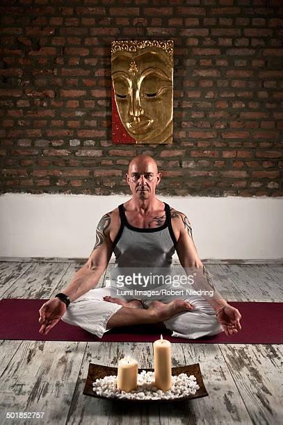 Man Practicing Yoga, Lotus Pose