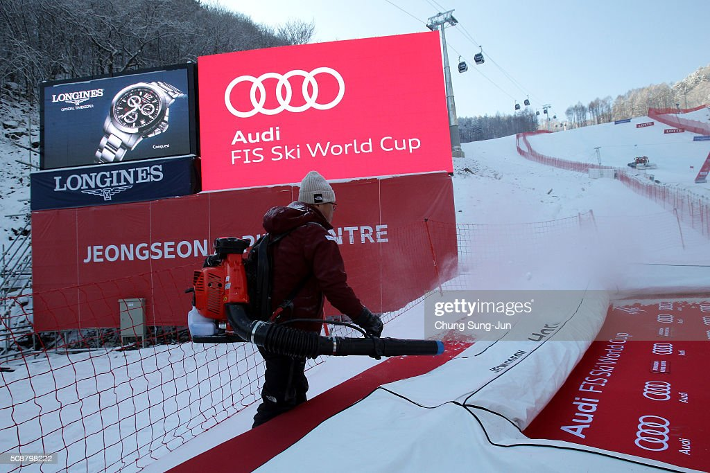 A man prepares for Men's Super G Finals during the 2016 Audi FIS Ski World Cup at the Jeongseon Alpine Centre on February 7, 2016 in Jeongseon-gun, South Korea.