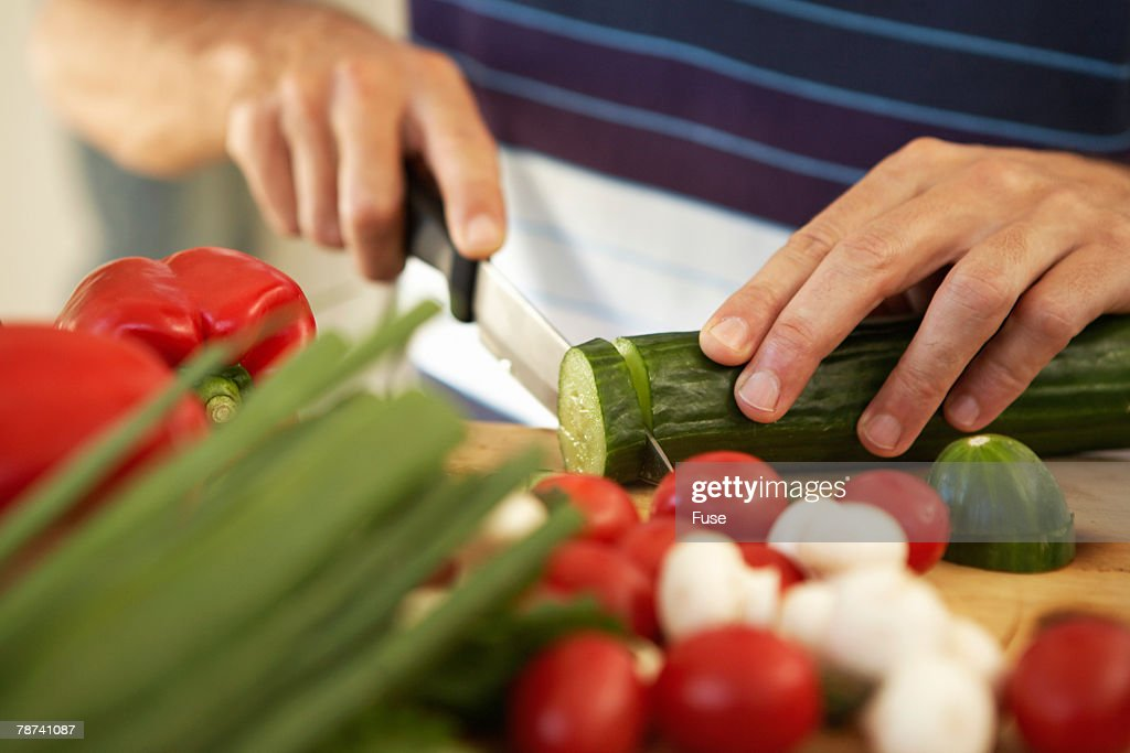 Man Preparing Salad : Stock Photo