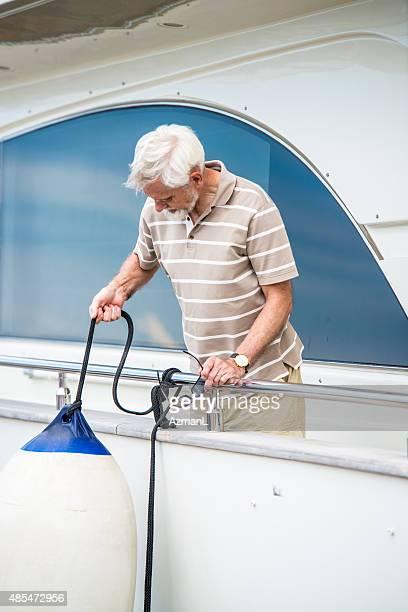Man Preparing Yacht