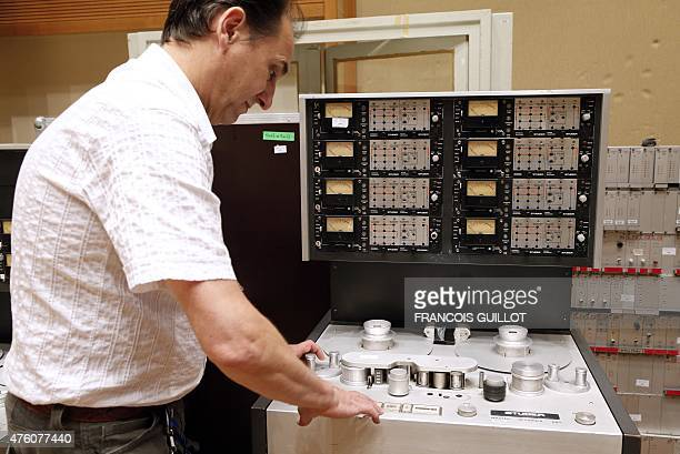 A man present a Studer A80 analog recorder on June 6 2015 at the Maison de la Radio in Paris the headquarters of French public service radio...