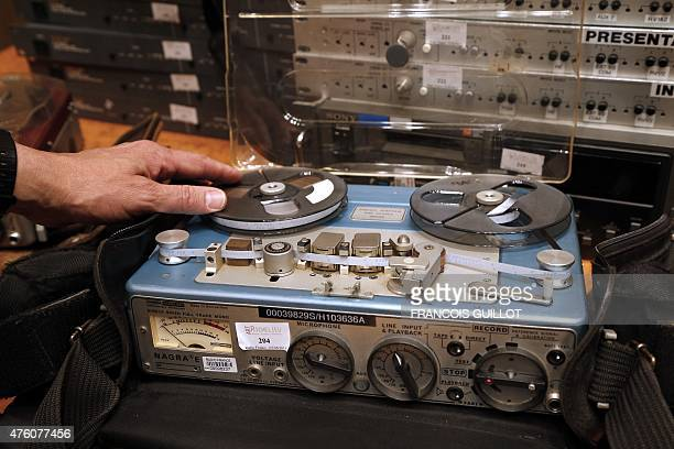 A man presents a Nagra E analog recorder on June 6 2015 at the Maison de la Radio in Paris the headquarters of French public service radio...