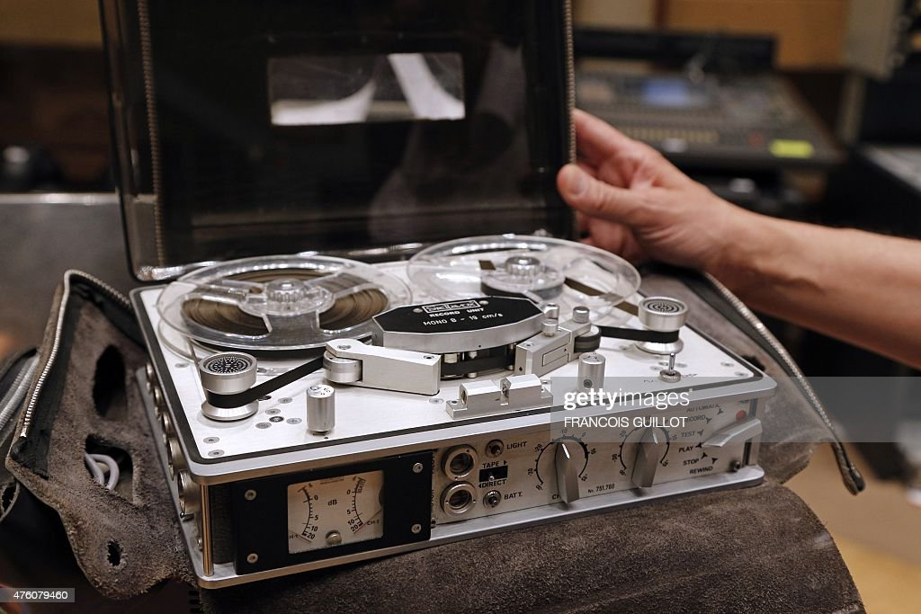 A man presents aStellavox SP7 analog stereo recorder on June 6 2015 at the Maison de la Radio in Paris the headquarters of French public service...