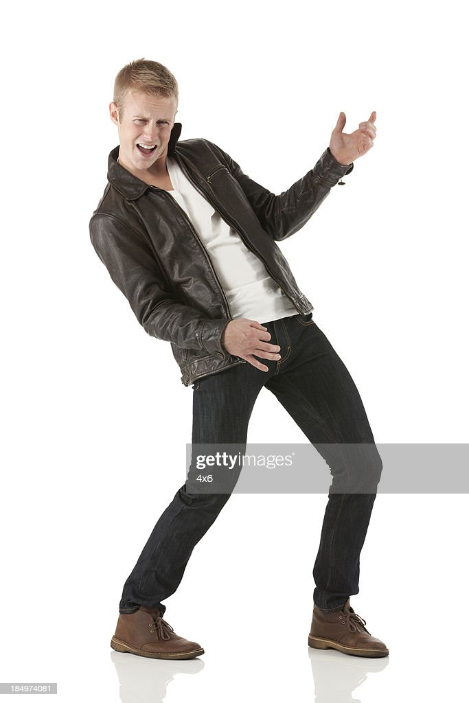 Man pretending to play guitar
