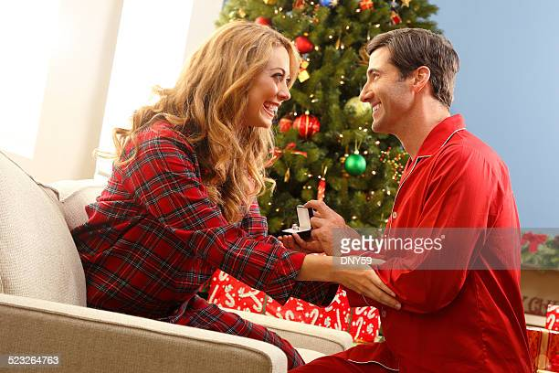 Man Proposing To His Girlfriend At Christmas