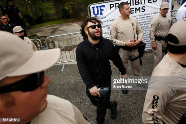 A man protests his inability to get into to a planned speech by white nationalist Richard Spencer who popularized the term 'altright' after being...