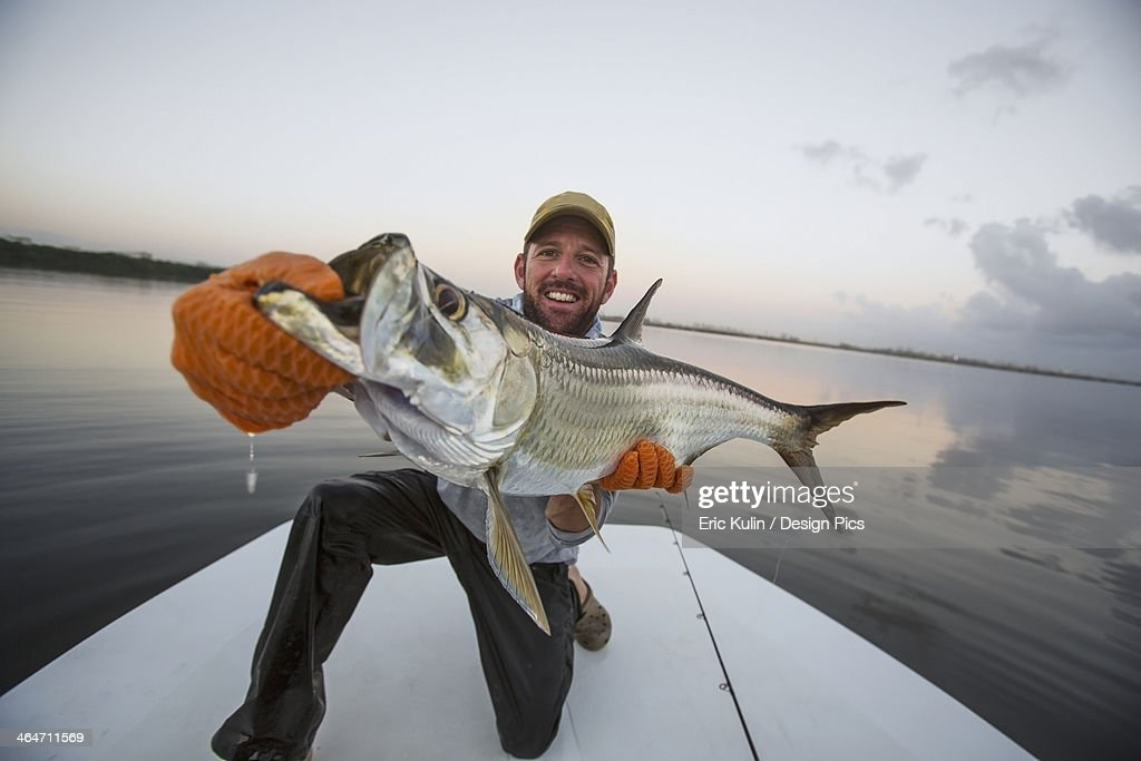 A Man Proudly Holds A Large Fresh Caught Fish On The Stern Of A Boat : Stock Photo