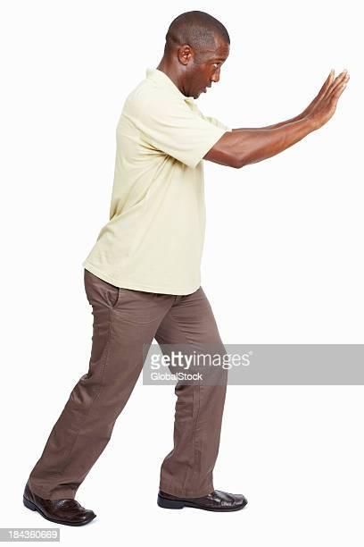 Man pushing something