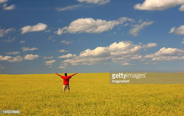 Un uomo che alza le mani in aria in un campo giallo Trifoglio