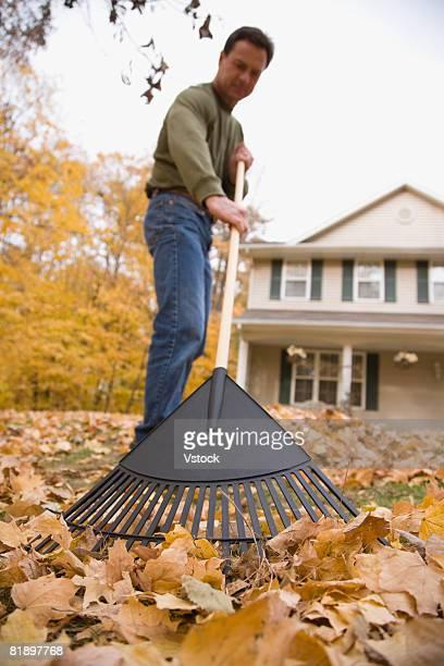 Man raking autumn leaves