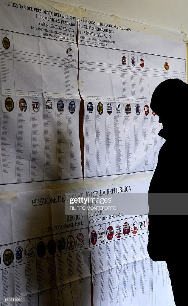 A man reads an electoral information banner in a polling station in Rome on February 24, 2013, as part of Italy's general elections. Italians fed up with austerity voted on February 24 in the country's most important election in a generation, as Europe held its breath for signs of fresh instability in the eurozone's third economy. AFP PHOTO / FILIPPO MONTEFORTE