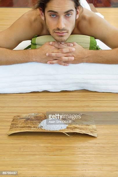 Man receiving spa treatment
