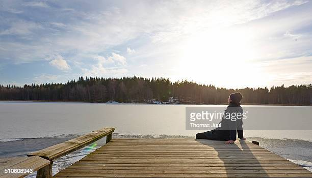 man relax by lake