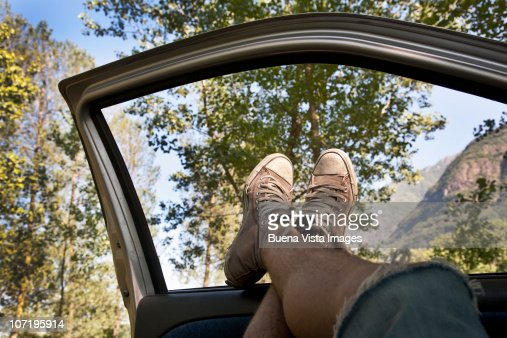 Man relaxing in a car