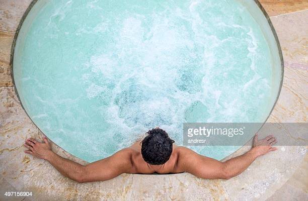 Man relaxing in a Jacuzzi