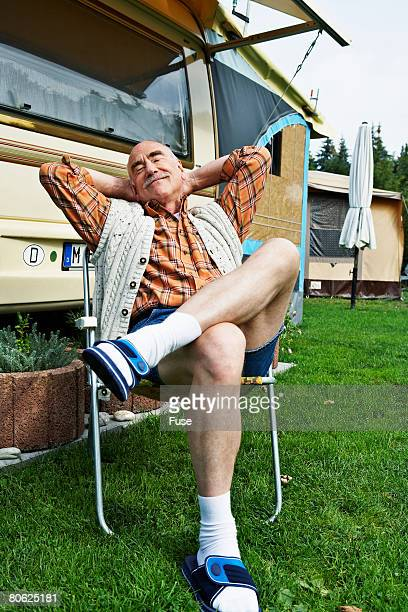 Man Relaxing in a Lawn Chair