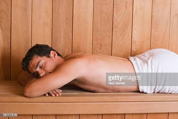 Man Relaxing in Sauna