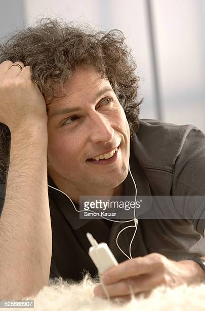 Man relaxing with mp3 player