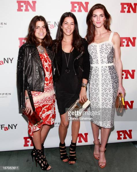 Man Repeller bogger Leandra Medine designer Rebecca Minkoff and model Hilary Rhoda attend the 2012 Footwear News Achievement awards at The Museum of...