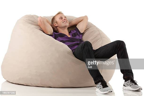 Man resting in a bean bag
