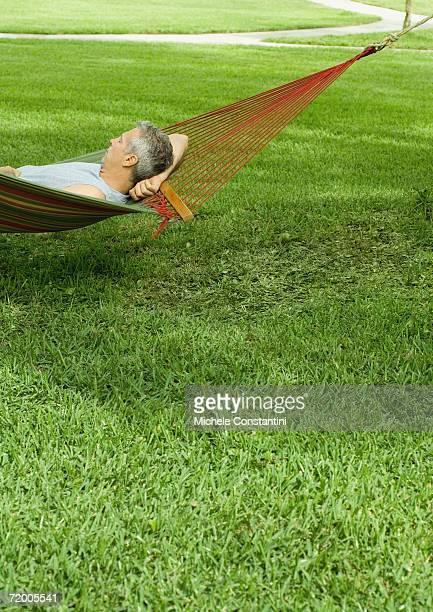 Man resting in hammock