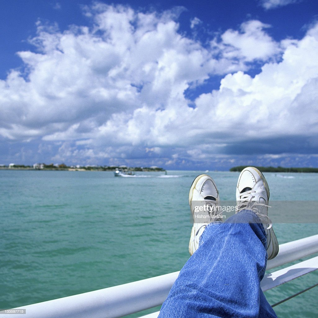 Man Resting on a Boat / Cruise enjoying the view