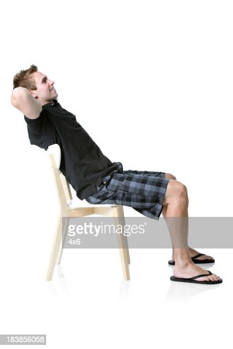 Man resting on a chair