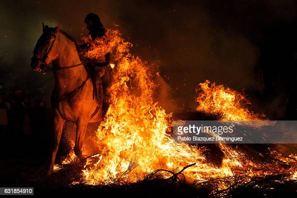 A man rides a horse through a bonfire during 'Las Luminarias' Festival on January 16 2017 in San Bartolome de Pinares Spain In honor of Saint Anthony...