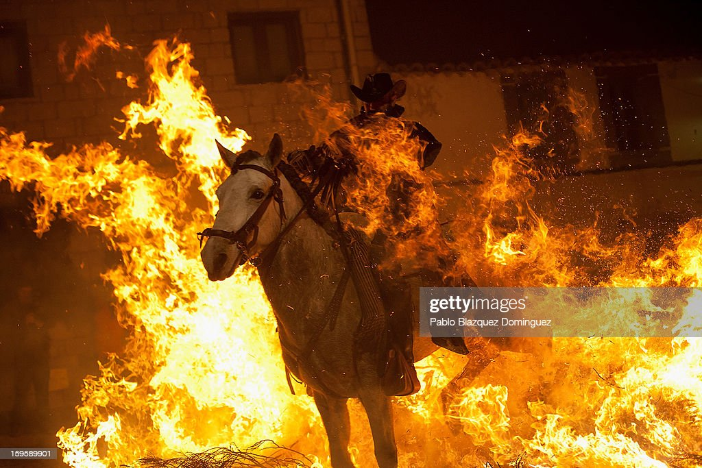 A man rides a horse through a bonfire on January 16, 2013 in San Bartolome de Pinares, Spain. In honor of San Anton, the patron saint of animals, horses are riden through the bonfires on the night before the official day of honoring animals in Spain.
