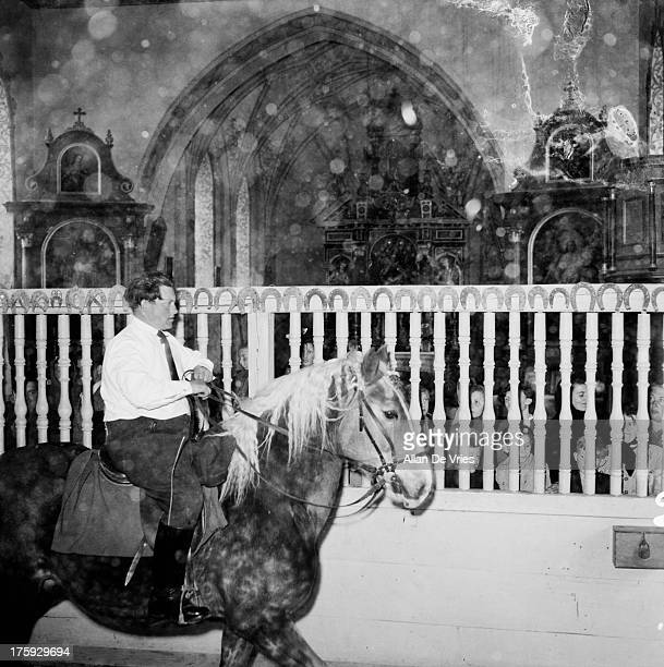 A man rides a horse through the church of St Willibald in the annual WillibaldRitt in Jesenwang Bavaria 5th May 1955 The tradition dates back to the...