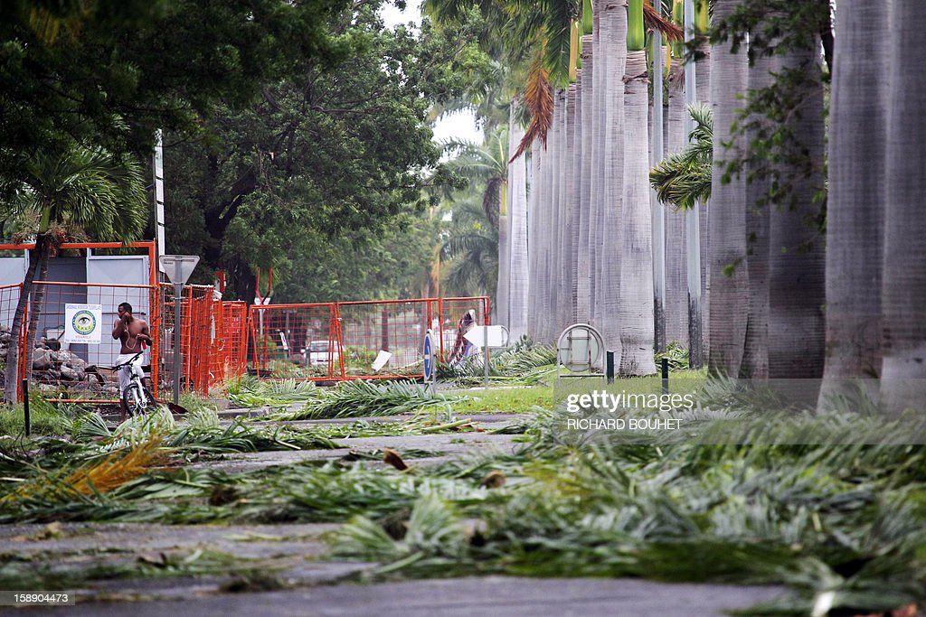 A man rides surrounded by branches of trees which fell on the road, on January 3, 2013 in Le Port, western part of French overseas' island of La Reunion, after cyclone Dumile lashed Reunion. Winds of up to 180 kilometres per hour (110 miles per hour) and torrential rain caused extensive damage to the electricity network after cyclone Dumile passed within 90 kilometres of the island's west coast at around 0900 GMT. AFP PHOTO / RICHARD BOUHET