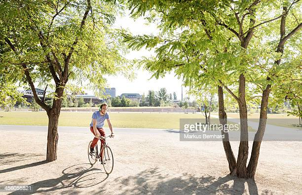 Man riding his bicycle