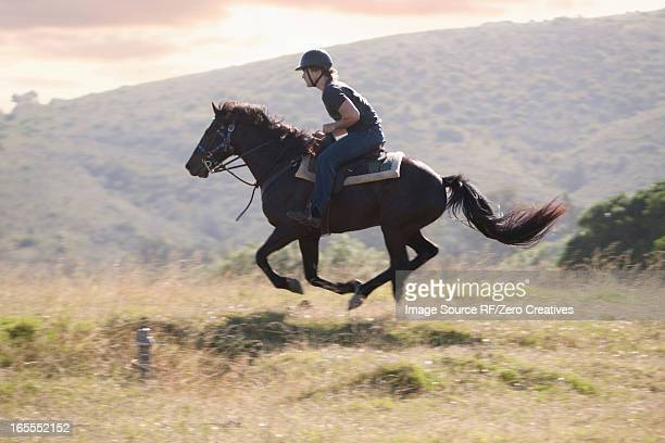 Man riding horse in rural landscape