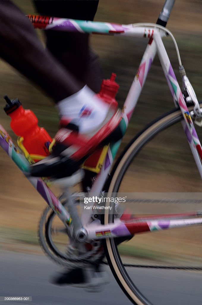 Man road bicycle racing, Victoria Commonwealth Games, close-up, low section : Stock Photo