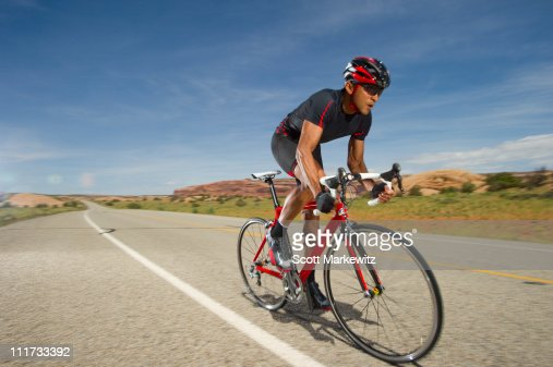 Man road biking, Moab, Utah. : Stock Photo
