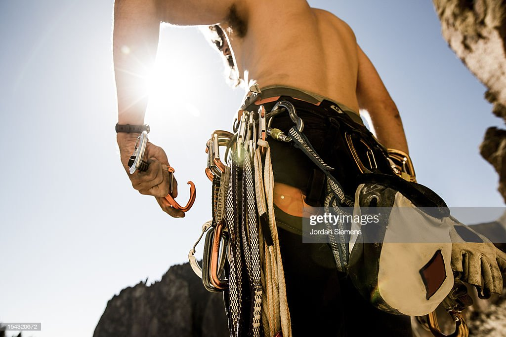 A man rock climbing. : Stock Photo