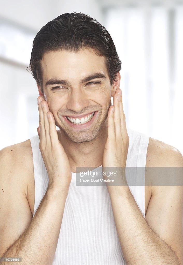 male rubbing