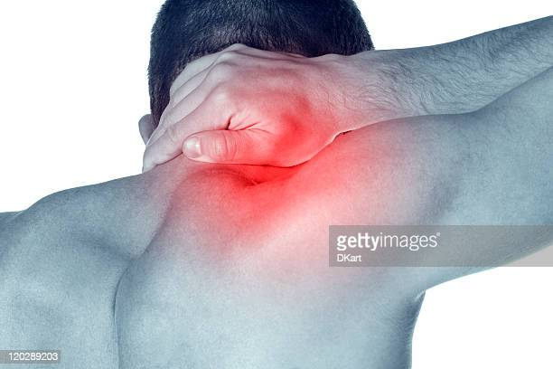 Man rubbing his neck where a red area signifies pain
