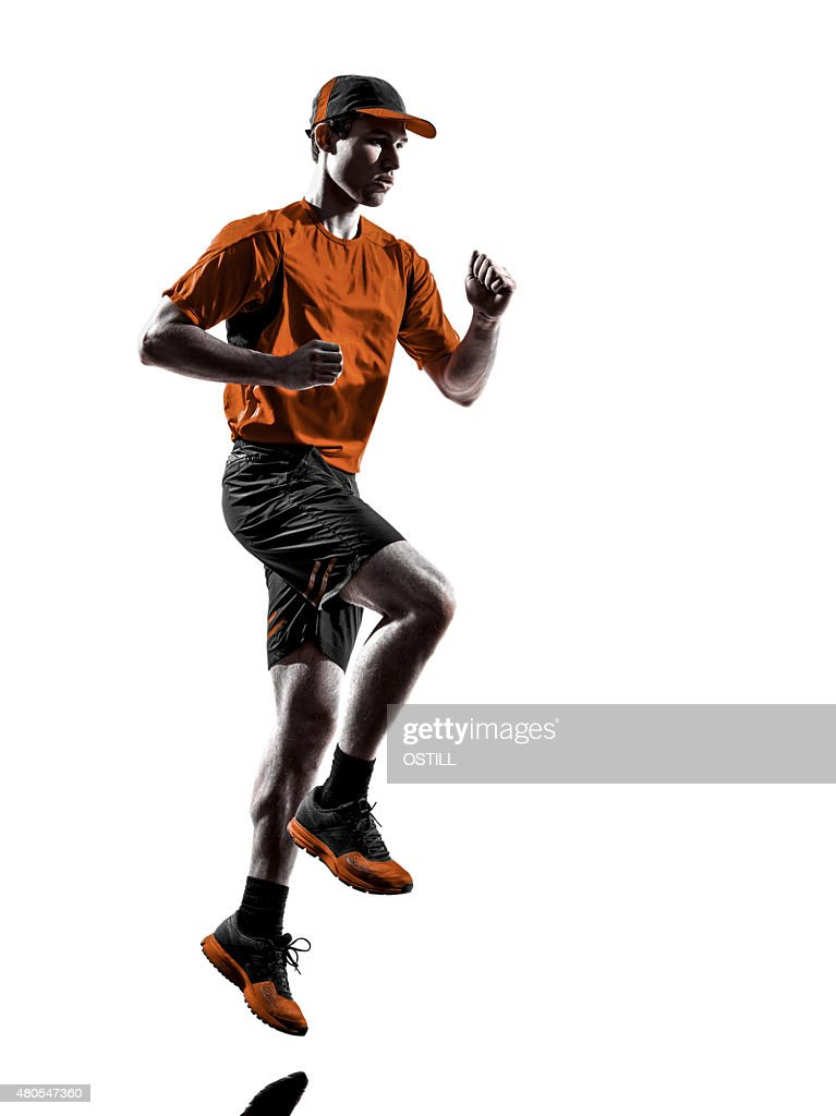 man runner jogger running jogging silhouette : Stock Photo