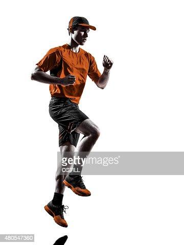 Homem corredor jogger em execução silhueta de Três Rodas : Foto de stock