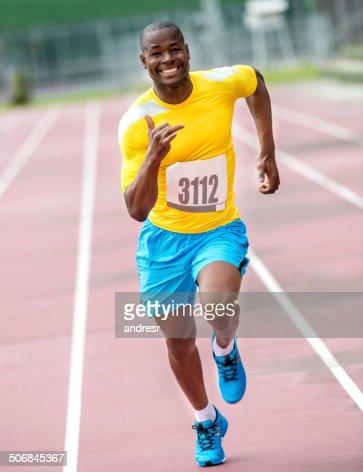 Man running a 100 mts