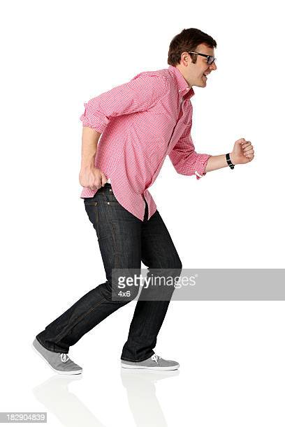 Man running against white background