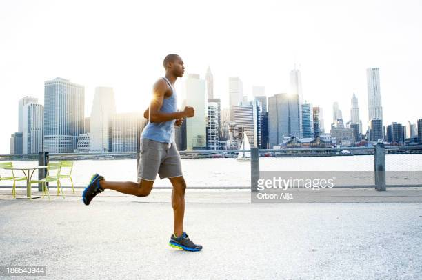 Man running in New York