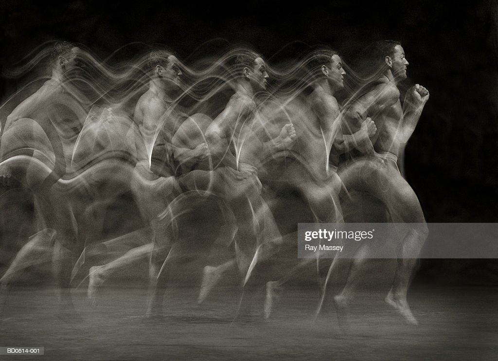 Man running, profile (multiple exposure, toned B&W)) : Stock Photo